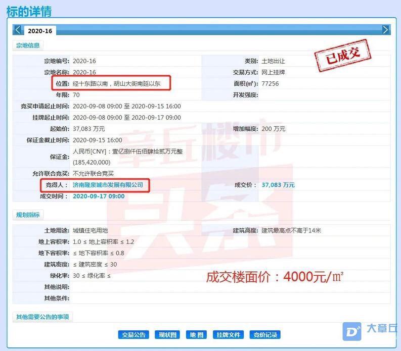4000元/㎡底价成交,章丘四中旁将再添新项目!