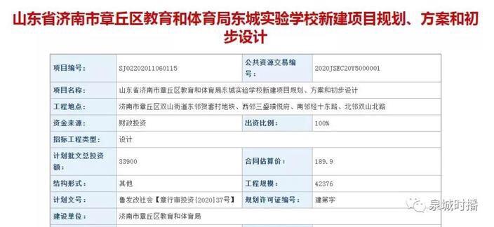 占地8万㎡!章丘东城实验学校来了!